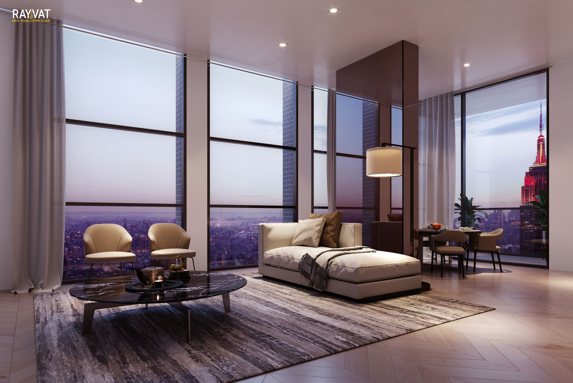 Evening Scene 3D Rendering of Living Room in a high Rise Tower, Chicago