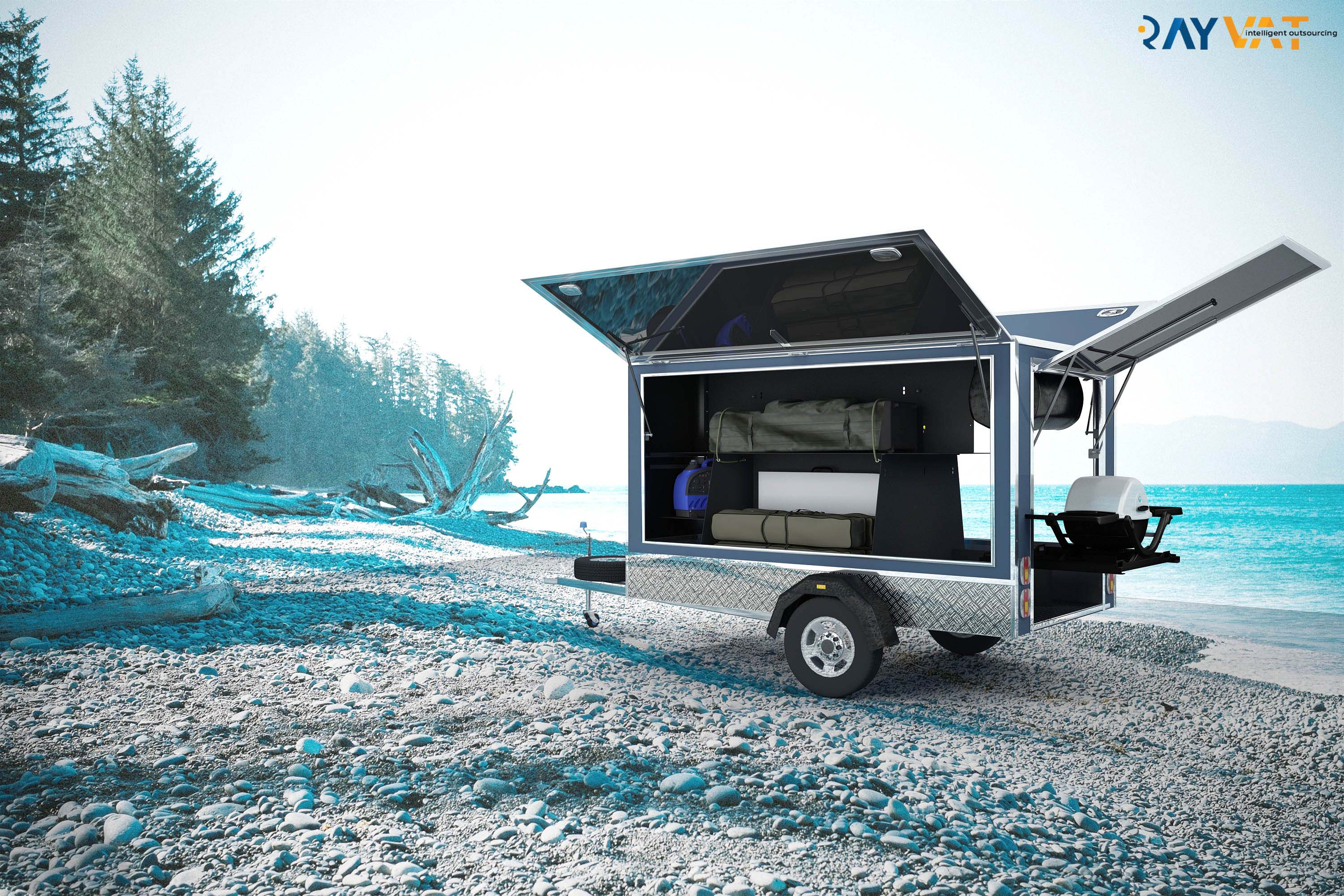 3D Product Rendering Trailer Beach View
