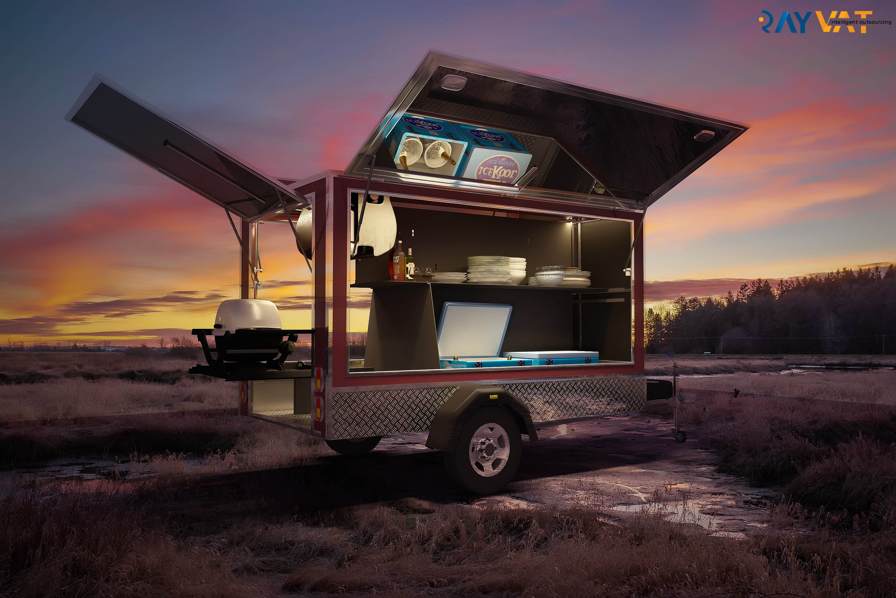 3D Product Modeling Services - Trailer Dusk View