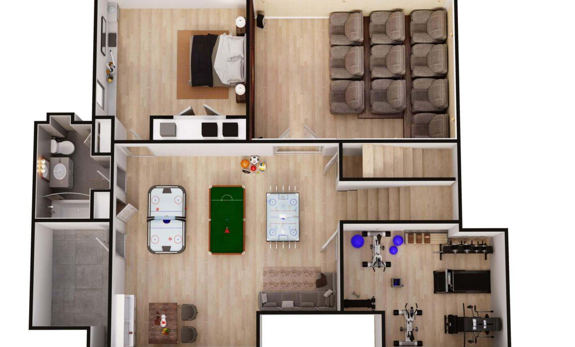 3D BASEMENT FLOOR PLAN WITH HOME THEATRE – 29 ROSS AVENUE, DEMAREST, NEW JERSEY