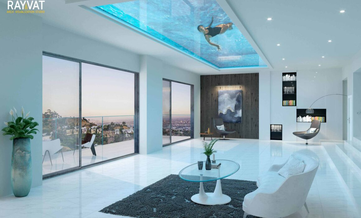 'INSIDE OUTSIDE' – 3D INTERIOR LIVING ROOM – UNDERPOOL AREA, LOS ANGELES, CA