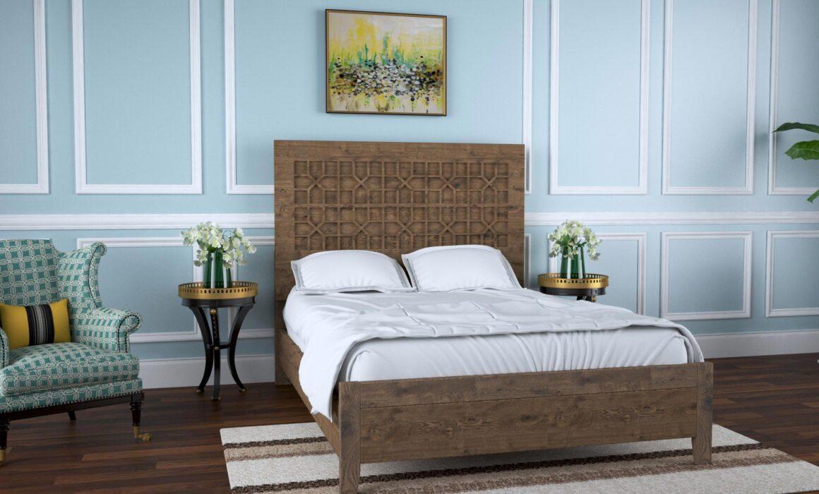 3D BEDROOM FURNITURE RENDERING – WOODEN BED