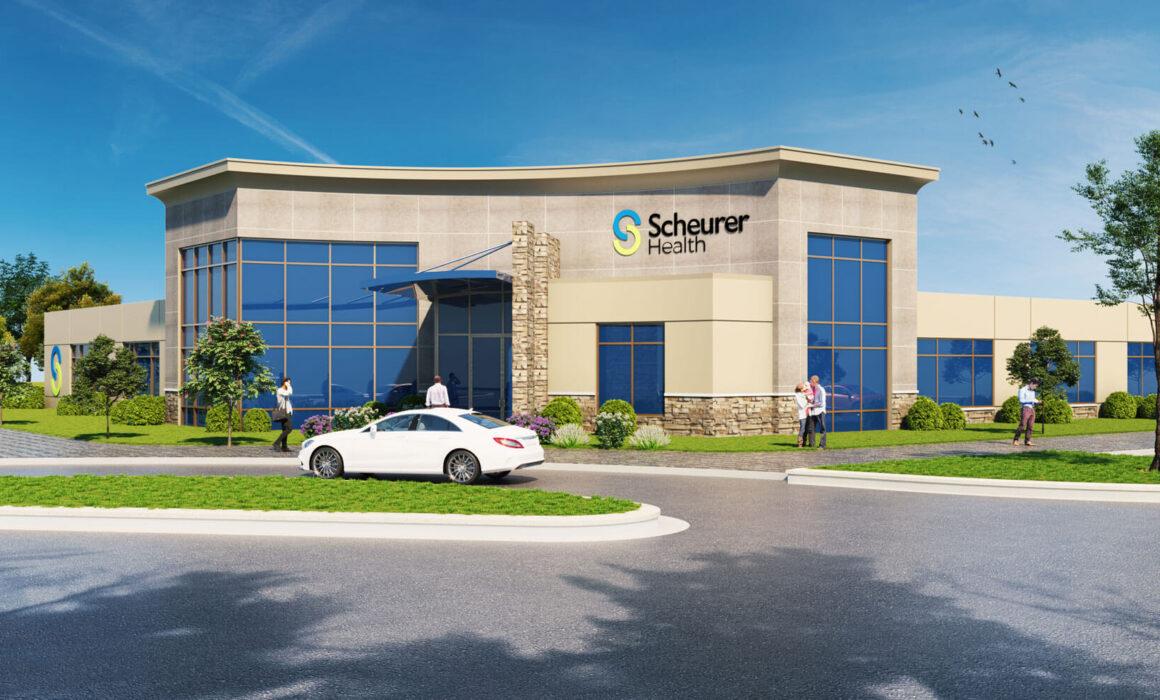 'SCHEURER HEALTH CENTER' -3D EXTERIOR RENDERING, PIGEON, MICHIGAN