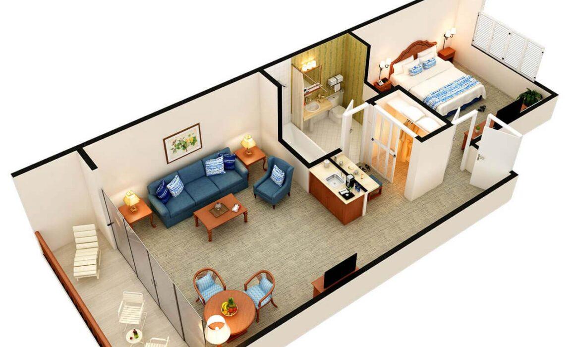 3D FLOOR PLAN OF CATAMARAN HOTEL – SAN DIEGO, CALIFORNIA