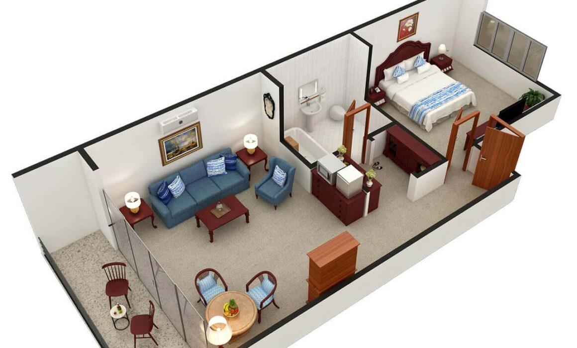 3D FLOOR PLAN FOR HOTEL ROOM – SAN DIEGO, CALIFORNIA