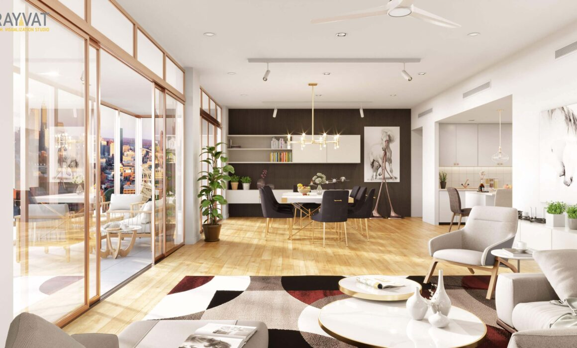 'STYLISH AND LUXURIOUS' – 3D RENDER OF LIVING CUM KITCHEN, MELBOURNE, AUSTRALIA