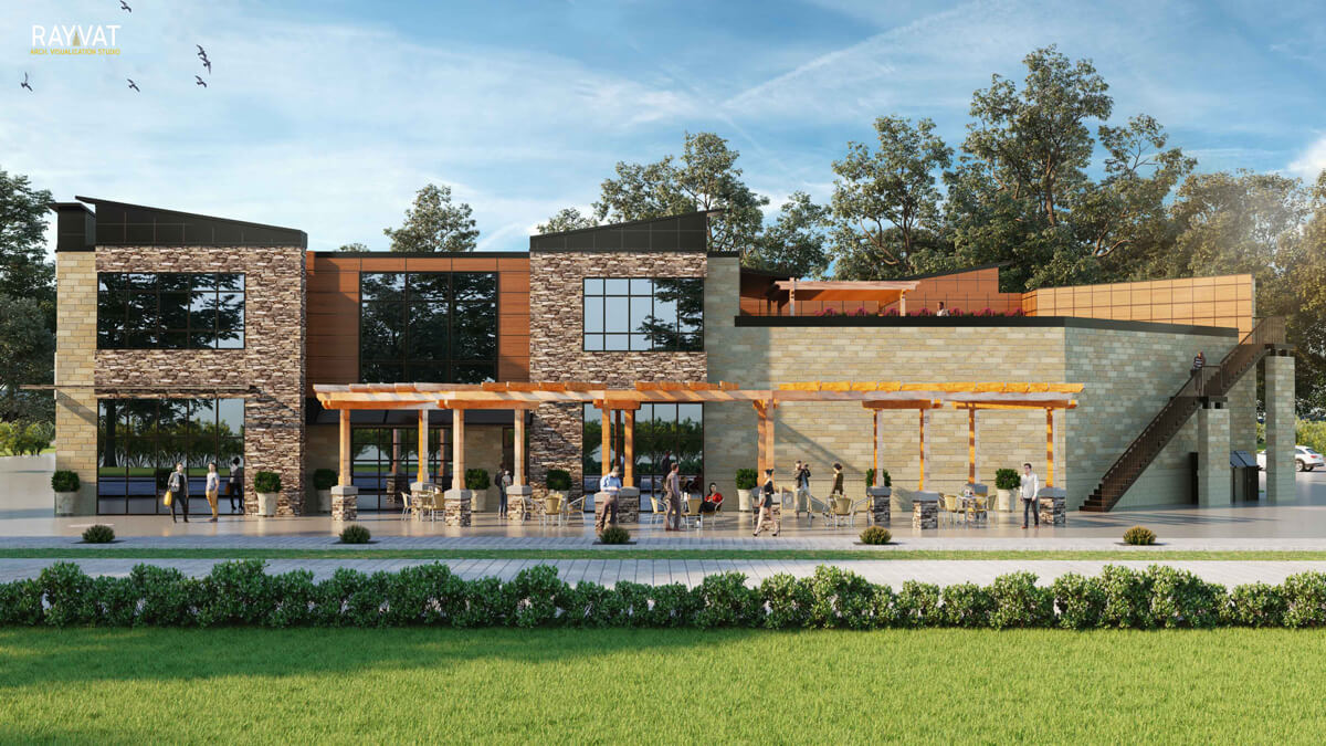 Wood-and-Stone-Vernacular-Institutional-Building-3D-Commercial-Rendering-Michigan