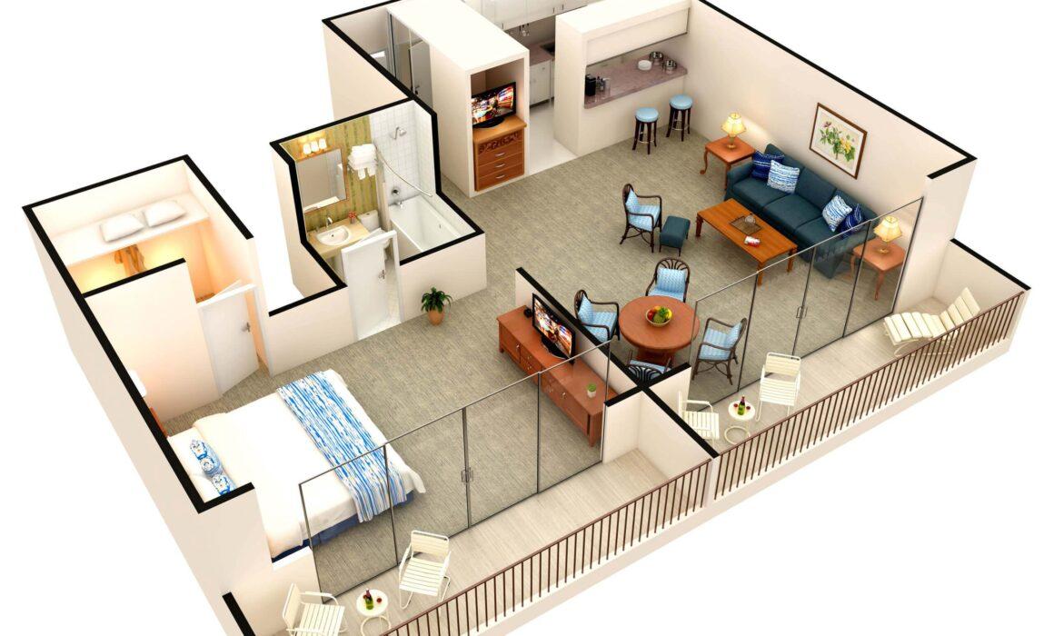 3D-HOTEL-ROOM-FLOOR-PLAN-CATAMARAN-RESORT-SAN-DIEGO-CALIFORNIA