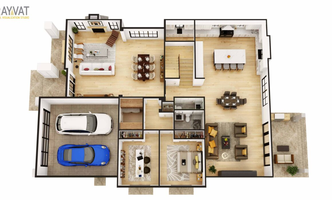 3D FIRST LEVEL FLOOR PLAN, CONTEMPORARY HOUSE – NEW JERSEY