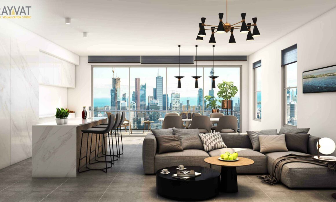 'MODERN LUXURIOUS LIVING ROOM' – 3D INTERIOR RENDERING OF LIVING AREA