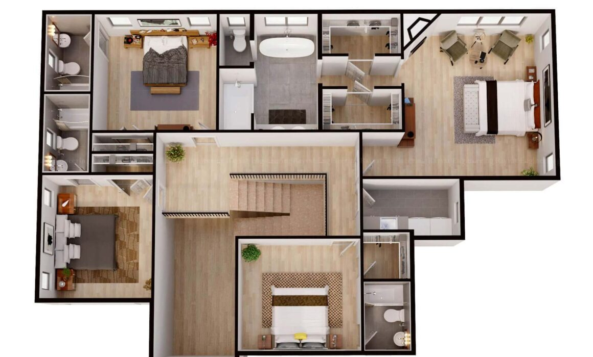 3D FLOOR PLAN LUXURIOUS BUNGALOW – 13 COLLINS AVE, CLOSTER, NEW JERSEY