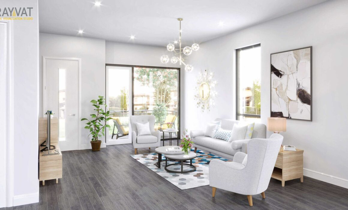 'BRIGHT AND LIVELY LIVING ROOM' – 3D RENDERING OF LIVING ROOM INTERIOR, CHICAGO, ILLINOIS