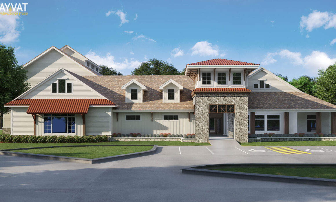 'CLASSICAL ELEGANCE' – 3D EXTERIOR RENDERING OF A CLUBHOUSE – UTAH