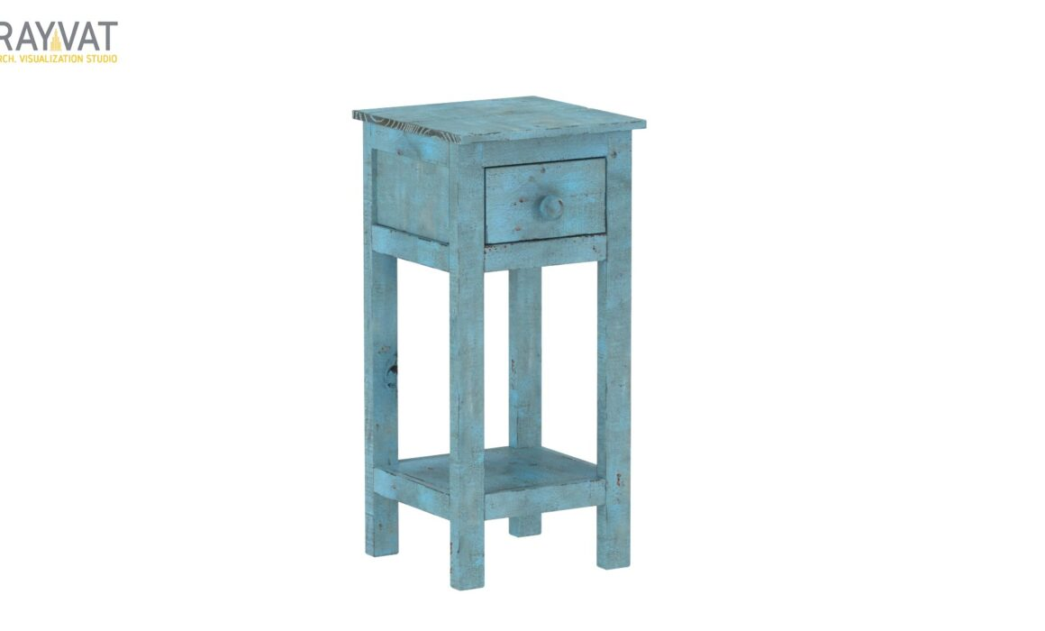 3D MODELING AND RENDERING – BLUE CHAIRSIDE TABLE