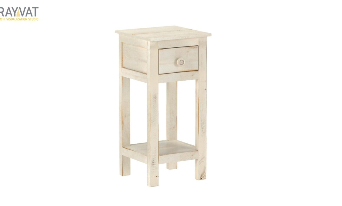 3D END TABLE MODELING AND RENDERING – WHITE CHAIRSIDE TABLE