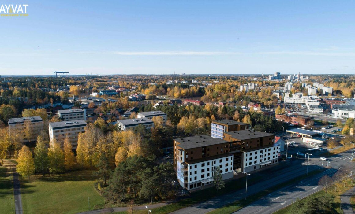 PHOTODROPPING OF 3D BUILDING IN DRONE PHOTOGRAPH_1 – FINLAND