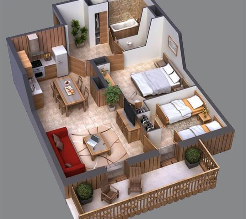 2 BEDROOM APARTMENT 3D FLOOR PLAN – DUBAI, UAE