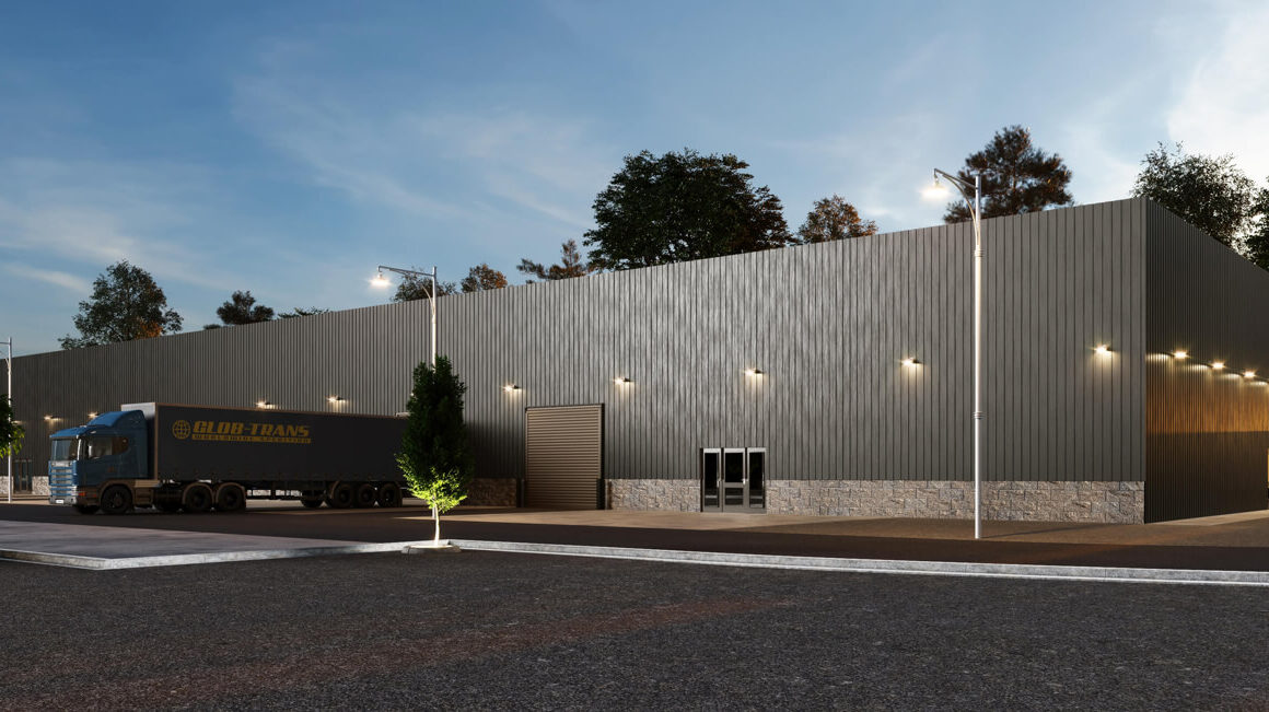 'CLEAN LINES A MODERN DEPOT WITH UNDERLINE GEOMETRY' – 3D EXTERIOR RENDERING OF A WAREHOUSE, FLORIDA