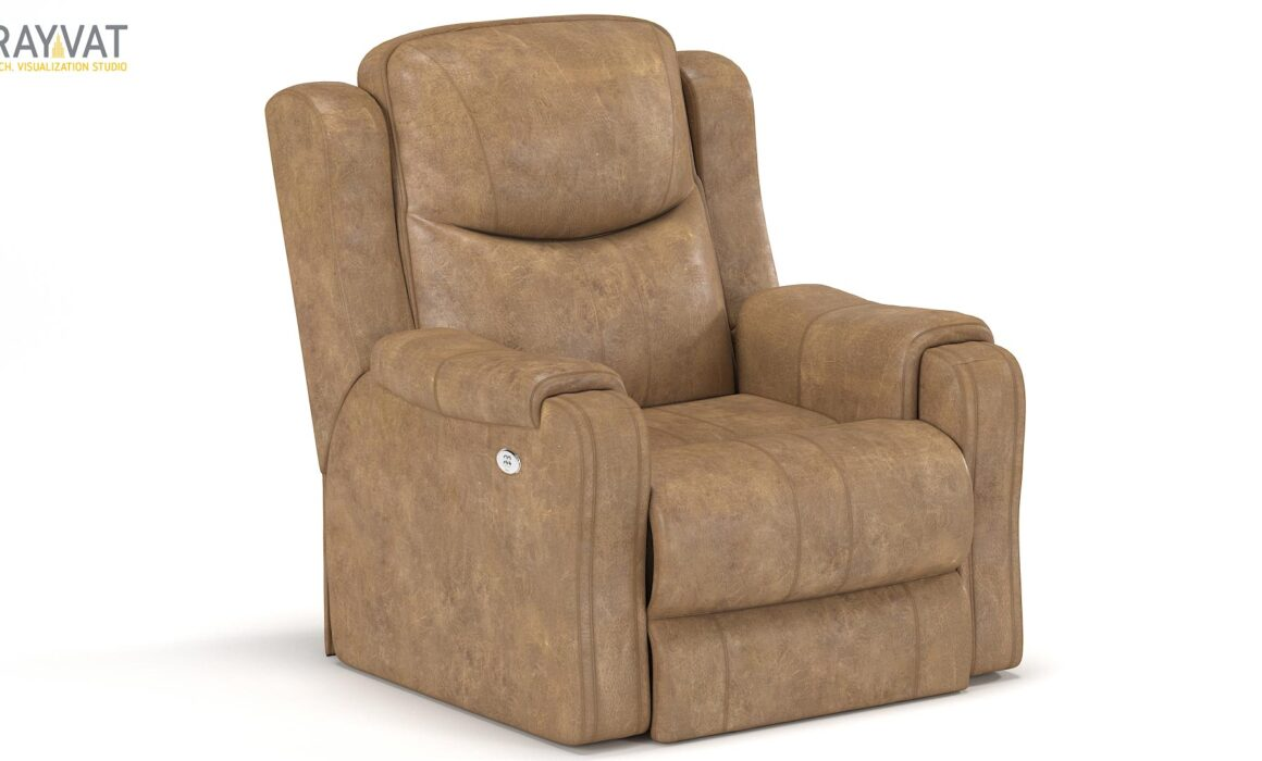 3D RENDERING OF LEATHER SOFA – LAVACA RECLINER