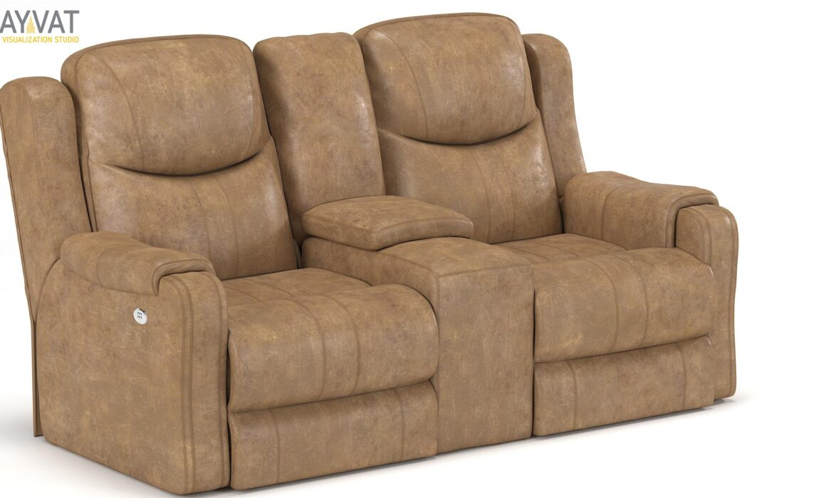 3D LEATHER SOFA MODELING AND RENDERING – LAVACA LOVESEAT