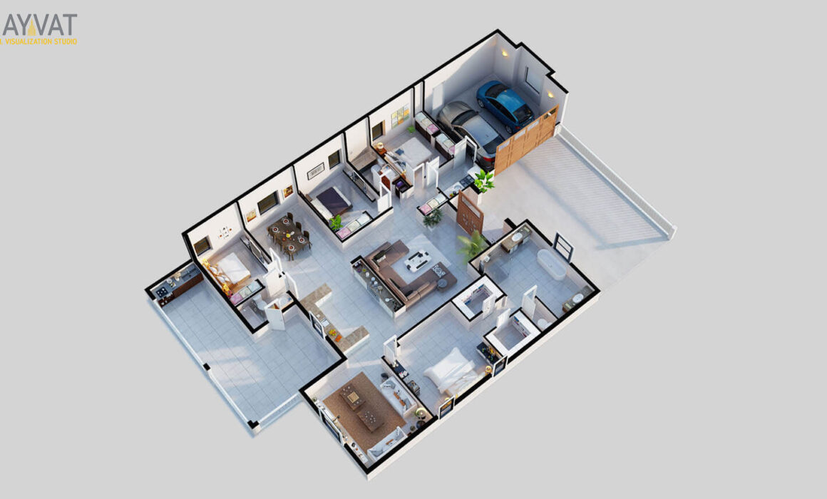 3D FLOOR PLAN OF 3 BEDROOM APARTMENT – NEWARK, NEW JERSEY