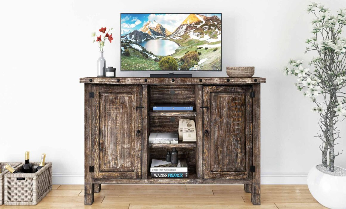 3D RUSTIC STYLE WOODEN FURNITURE – EMMA MEDIA STAND