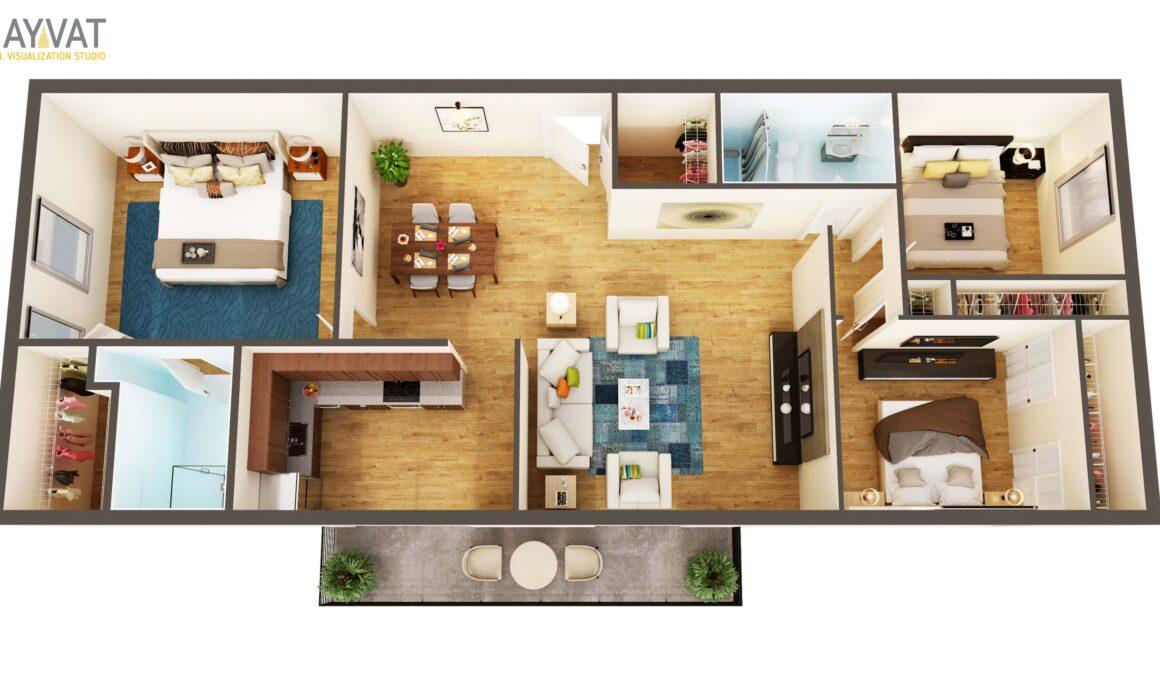 3 BEDROOM SUIT STYLE 3D FLOOR PLAN – WEST PALM BEACH, FLORIDA