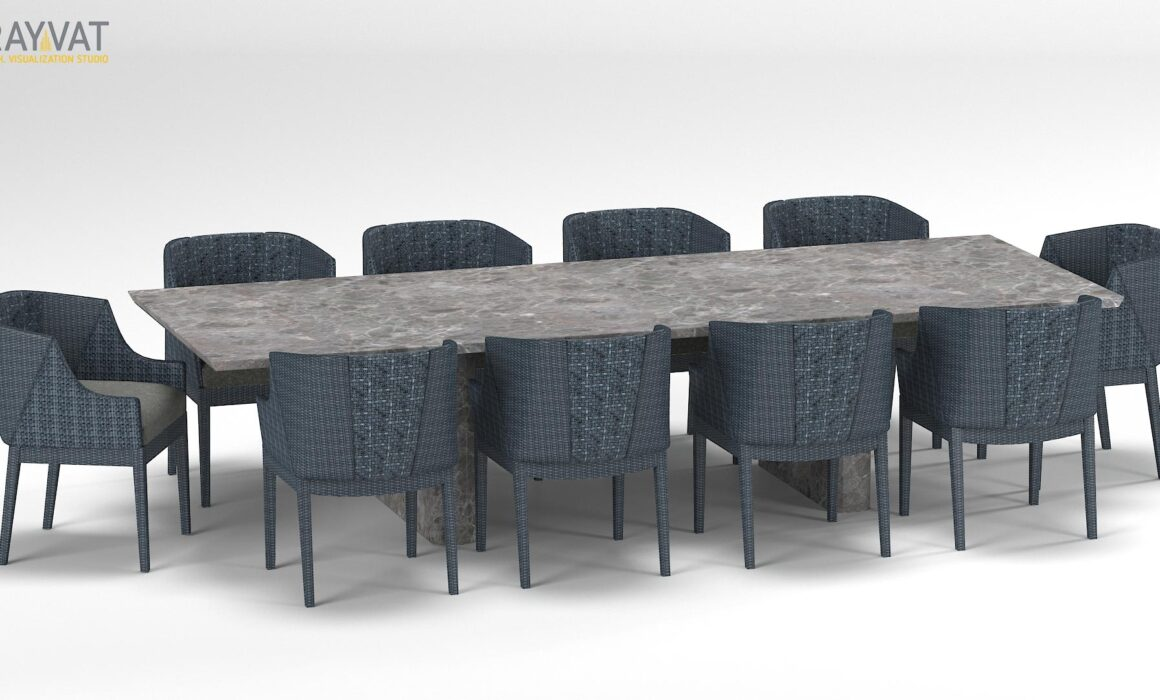 3D FURNITURE MODELING AND RENDERING OF DINING SET – OUTDOOR DINING TABLE & CHAIR<span id=