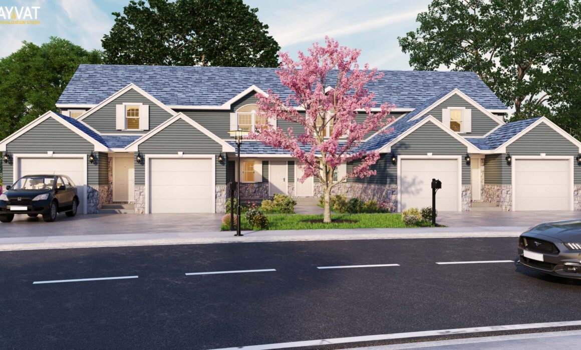 'A ROW OF TOWNHOUSES' – 3D EXTERIOR RENDERING OF TOWNHOUSE – COLORADO