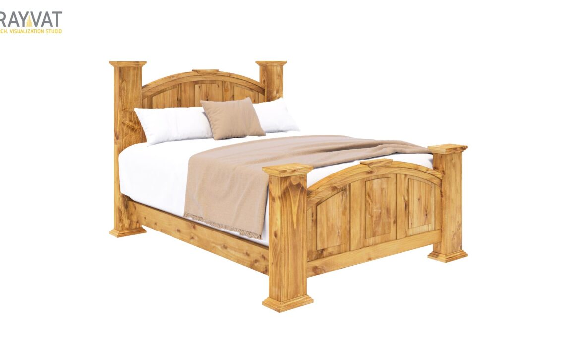 3D FARMOUSE STYLE FURNITURE RENDERING – RUSTIC WOODEN BED