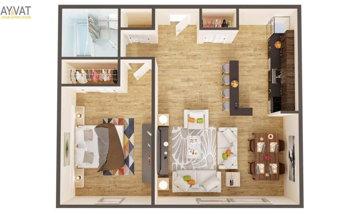 ONE BEDROOM SUIT STYLE 3D FLOOR PLAN – ATLANTA, GEORGIA