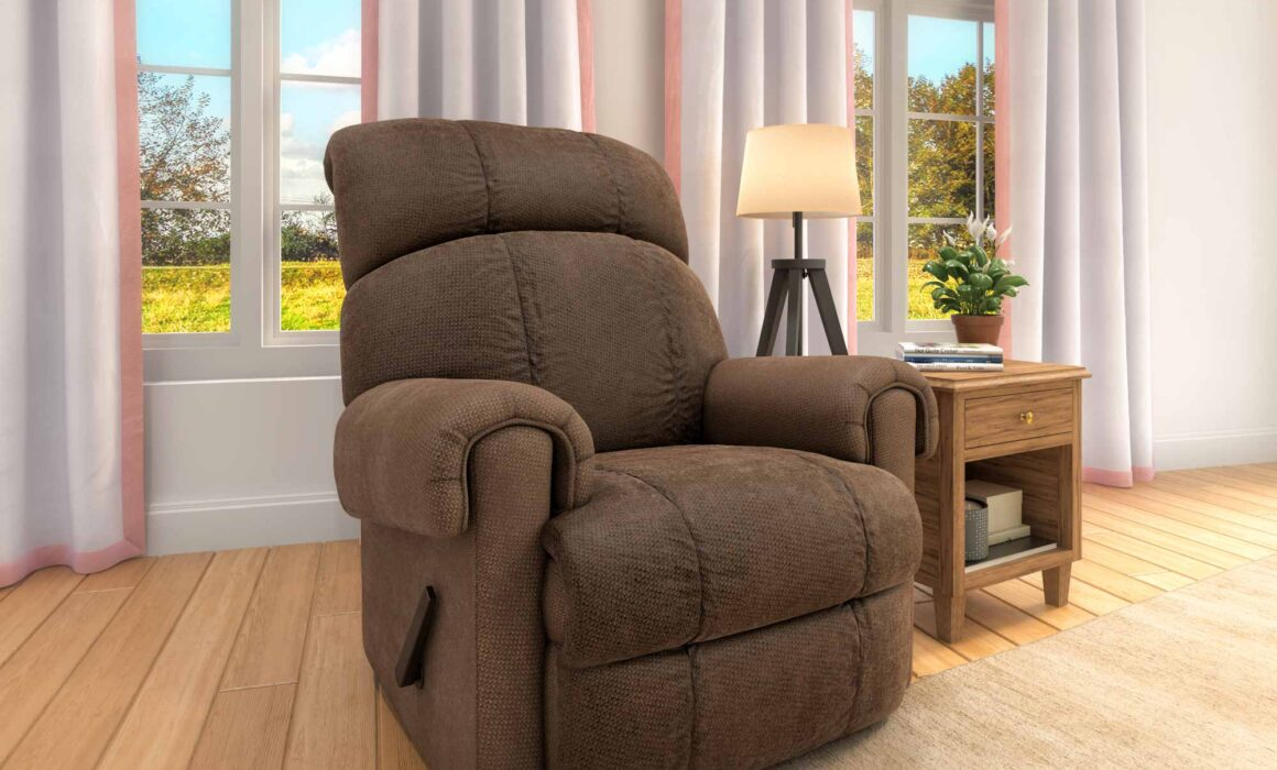 3D LIVING ROOM SEATING ELEMENT RENDERING – KELLY CHOCOLATE RECLINER