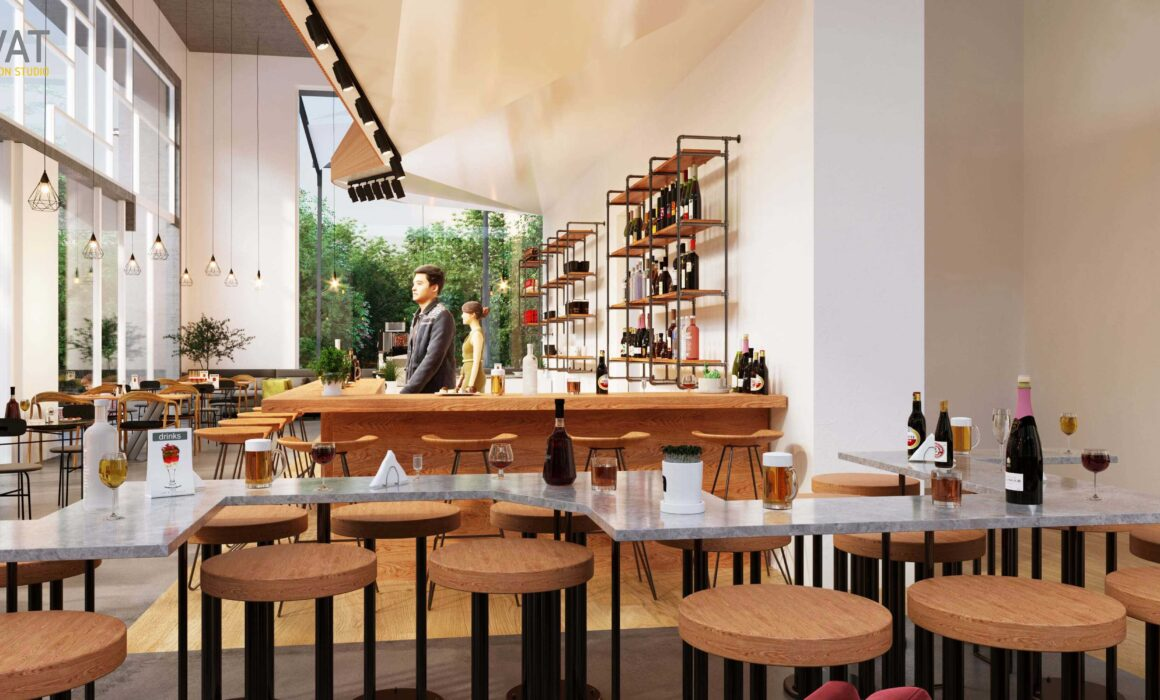 'CAFÉ BISTRO, EXPRESS YOURSELF' – 3D PERSPECTIVE OF CAFE, NEW YORK, USA