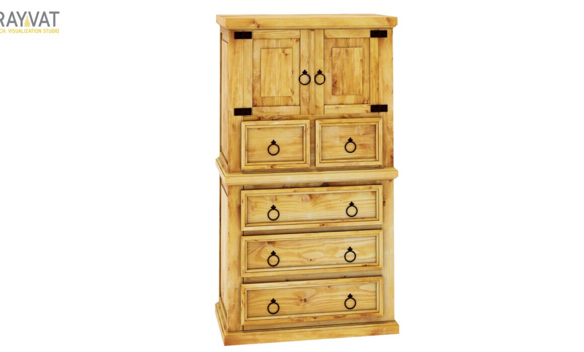 3D RUSTIC STYLE WOODEN FURNITURE RENDERING – RUSTIC CHEST