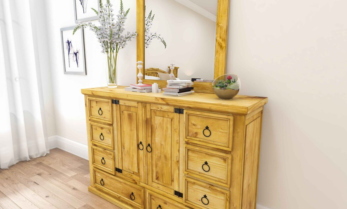 3D WOODEN RUSTIC FURNITURE FOR BEDROOM – RUSTIC DRESSER WITH MIRROR