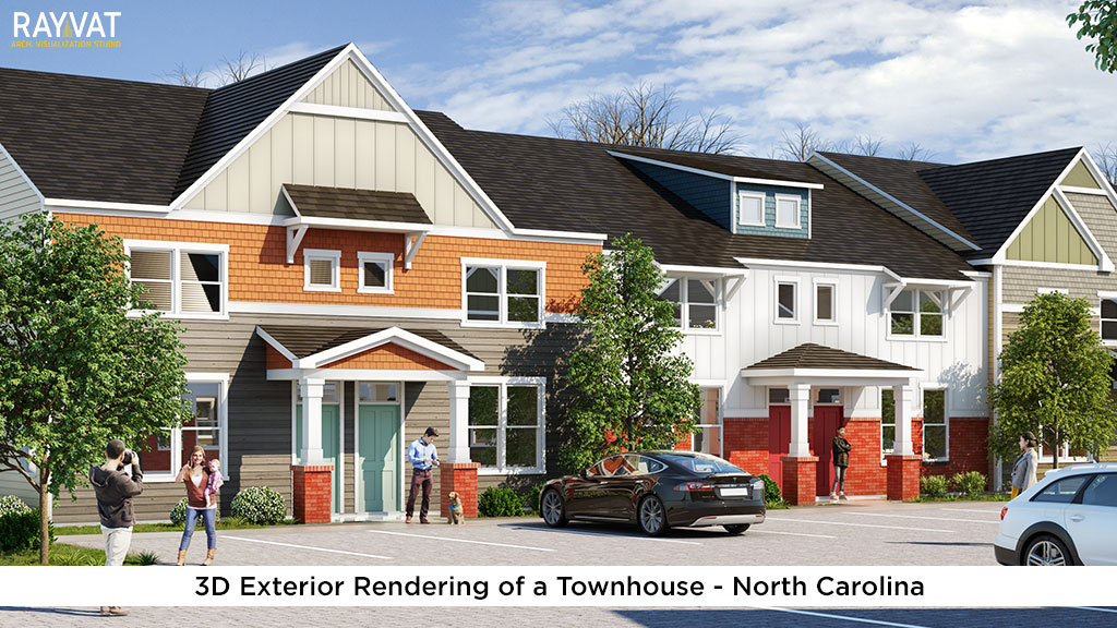 3D Exterior Rendering of a Townhouse North Carolina