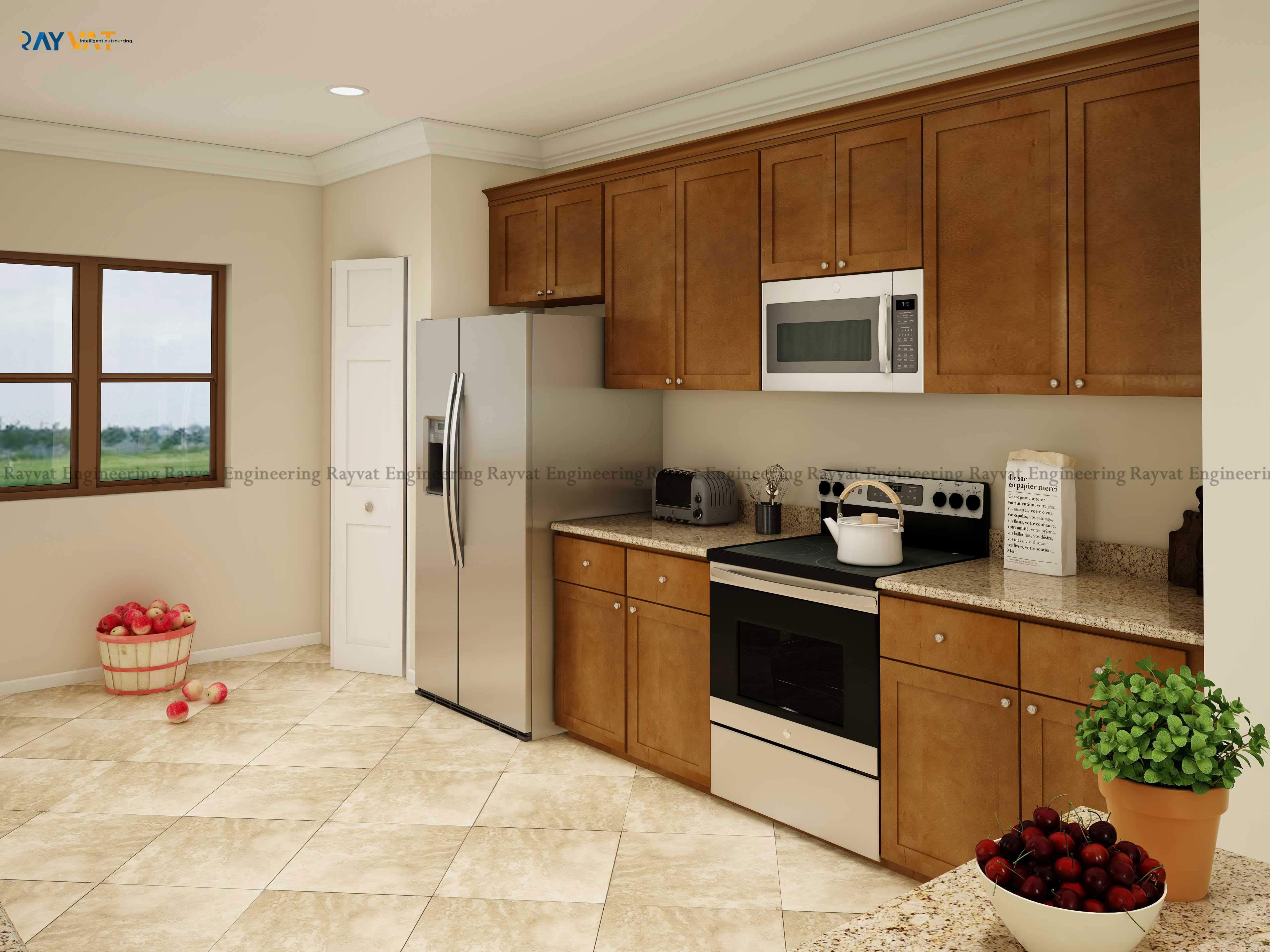 3D Interior Rendering Kitchen Concept New York