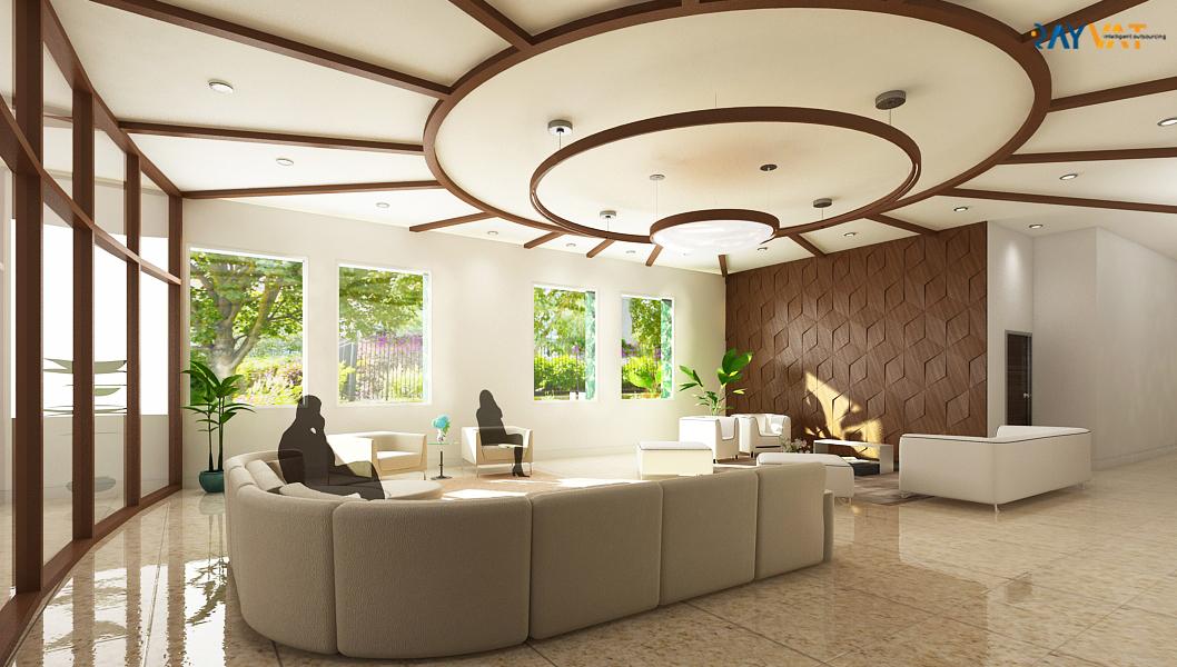 3D Interior Rendering of Detroit University Lobby