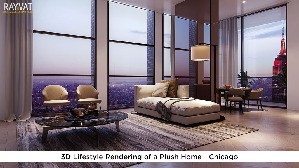 3D Lifestyle Rendering of a Plush Home Chicago