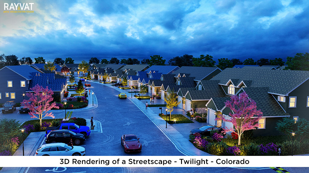 3D Rendering of a Streetscape Twilight Colorado