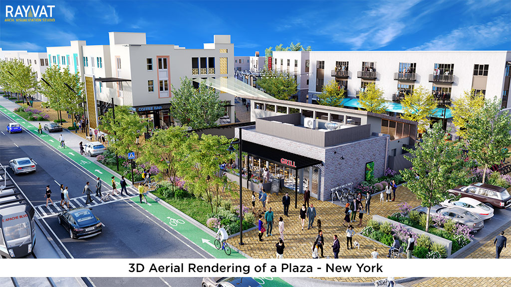 3D Rendering of a Plaza New York