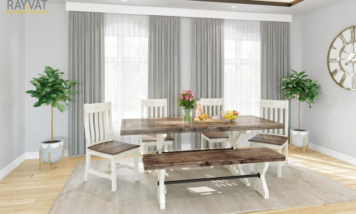 3D FURNITURE RENDERING FOR MODERN FARMHOUSE STYLE HOUSE – RUSTIC DINING TABLE & CHAIR WITH BENCH