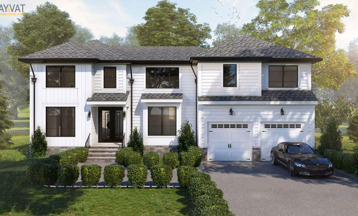 'A COZY PEACEFUL WOODEN AFFAIR' – 3D EXTERIOR STILL – INDIVIDUAL BUNGLOW, NEW JERSEY