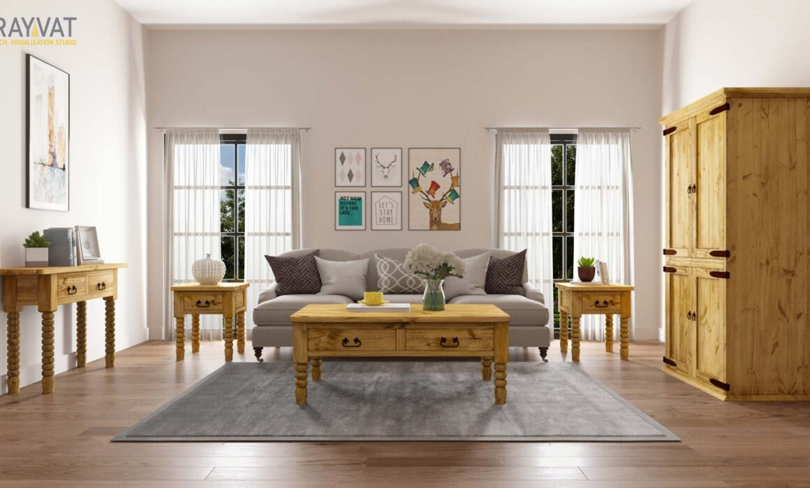 'CHARMING FARMHOUSE AMBIANCE' – 3D INTERIOR RENDERING OF A FARMHOUSE STYLE LIVING ROOM, TEXAS