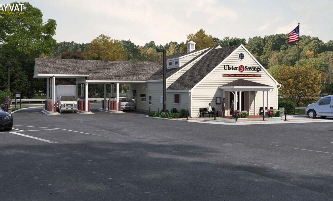'ULSTER SAVINGS BANK' – 3D RENDERING, STONE RIDGE, NEW YORK