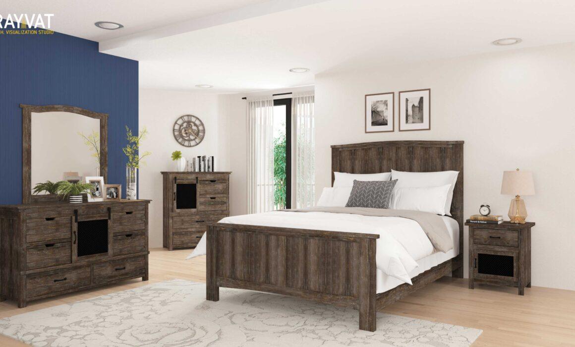 'WARM AND STYLISH BEDROOM' – 3D RENDERING OF BEDROOM, CALIFORNIA