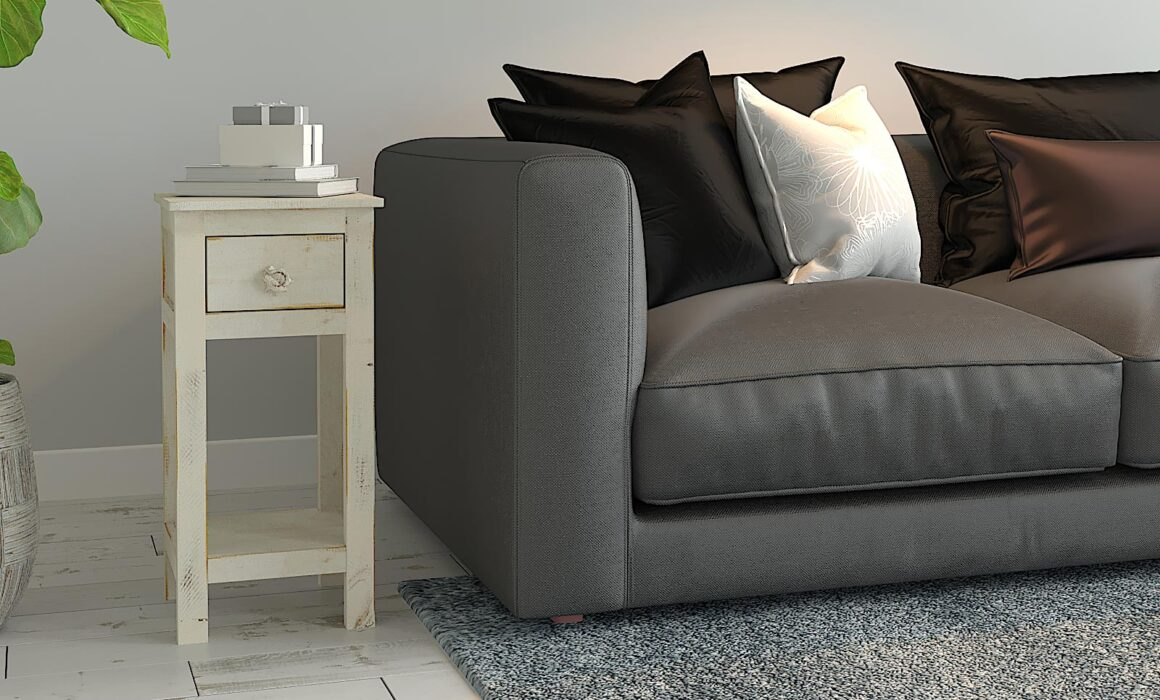 3D END TABLE RENDERING – WHITE CHAIRSIDE TABLE