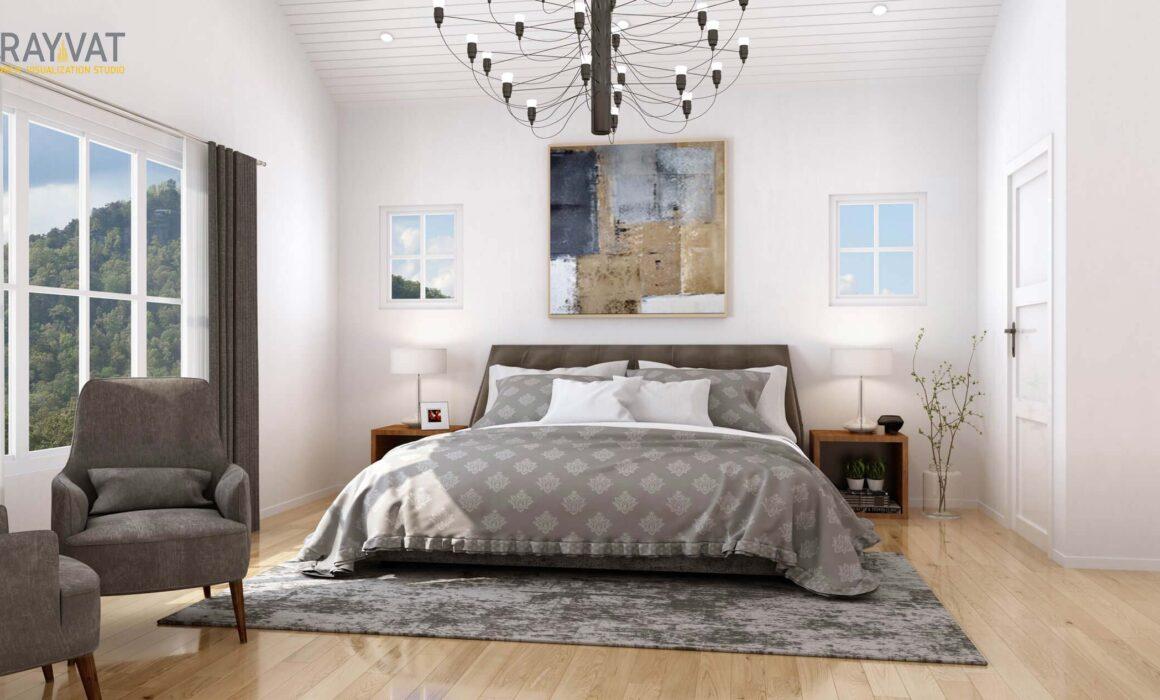 'STYLISH MASTER BEDROOM' – 3D INTERIOR RENDERING, SAN CARLOS, CA