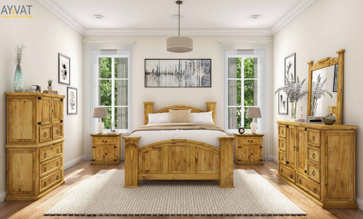 'COUNTRY CHIC' – 3D INTERIOR RENDERING OF MODERN FARMHOUSE STYLE BEDROOM, TEXAS