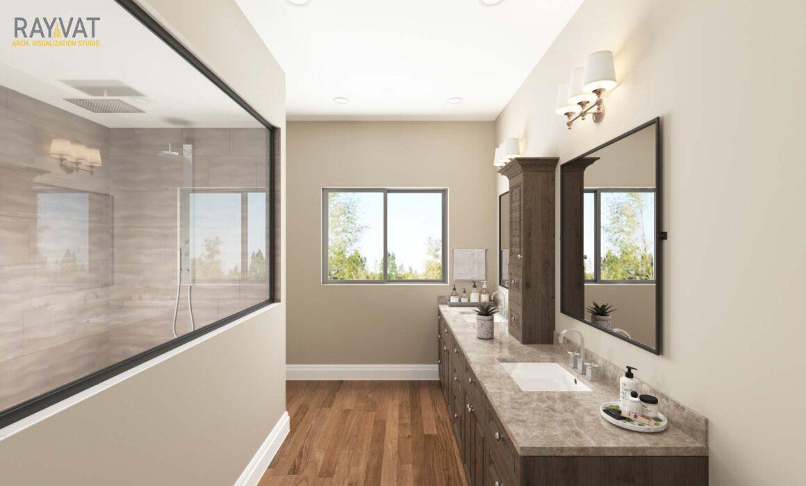 'RELISH YOUR BATHTIME' – 3D RENDERING OF CONTEMPORARY BATHROOM, PHOENIX, ARIZONA